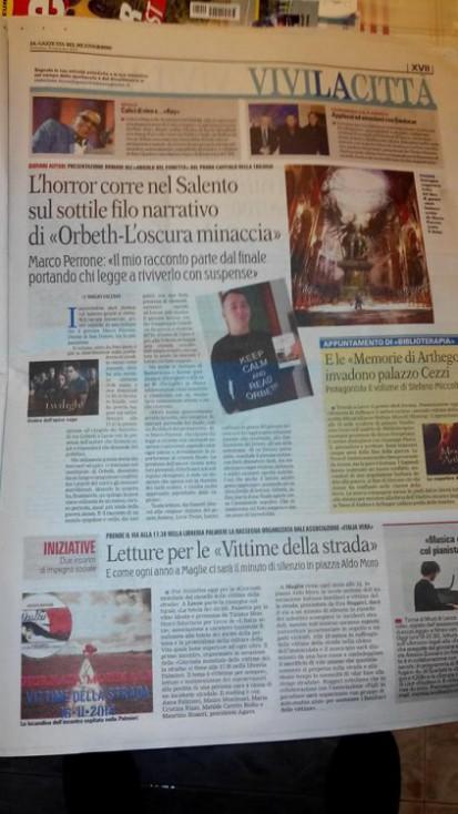 """""""Orbeth - L'oscura minaccia"""" dello scrittore Marco Perrone sulla Gazzetta del Mezzogiorno di Domenica 16 novembre 2014"""