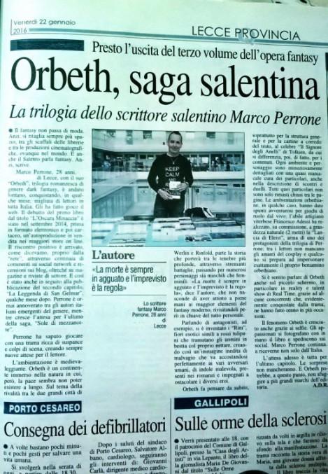 """La trilogia dark fantasy """" Orbeth """" e lo scrittore leccese Marco Perrone su """"il nuovo Quotidiano di Puglia"""" del 22 gennaio 2016 , il migliore omaggio ricevuto per l'inedito romanzo del giovane autore italiano"""