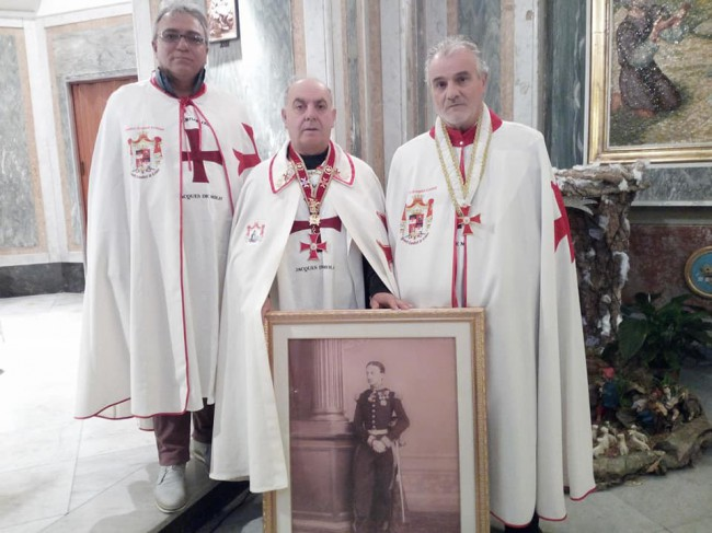 il Gran Priore dei Poveri Cavalieri di Cristo riceve in consegna il quadro di Re Francesco II da esporre nella chiesa di S. Gennaro e di S. M. Coeli di Napoli